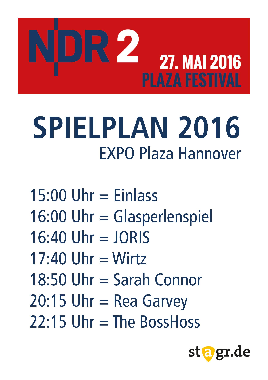 NDR2 Plaza Festival Spielplan 2016