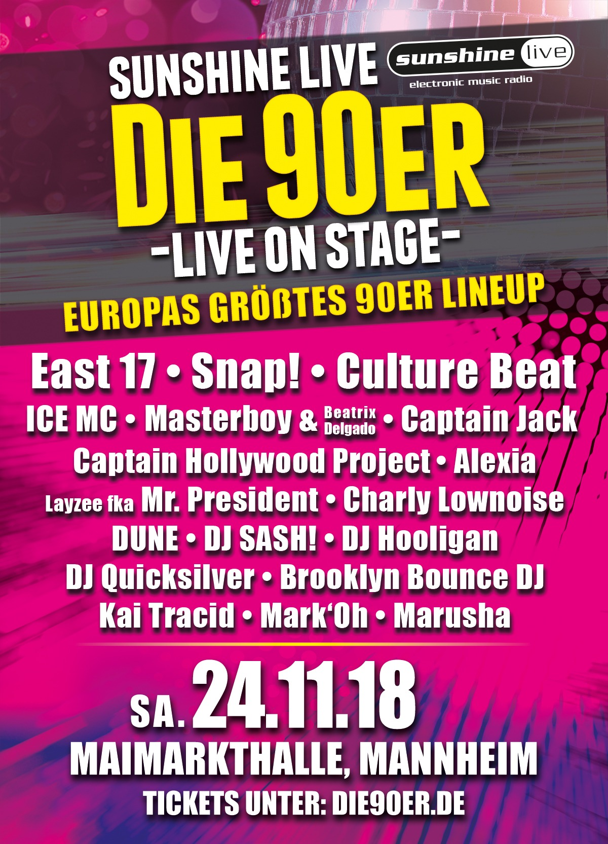 Sunshine Live Tickets gewinnen Die 90er Live on Stage