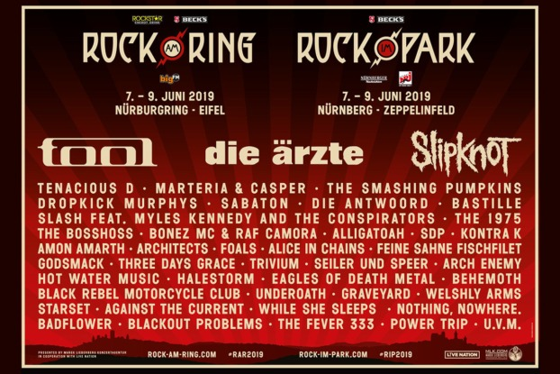 Rock am Ring 2019 Line up / Rar 2019 Line up / Rock im Park 2019 Line up / RIP 2019 Line up